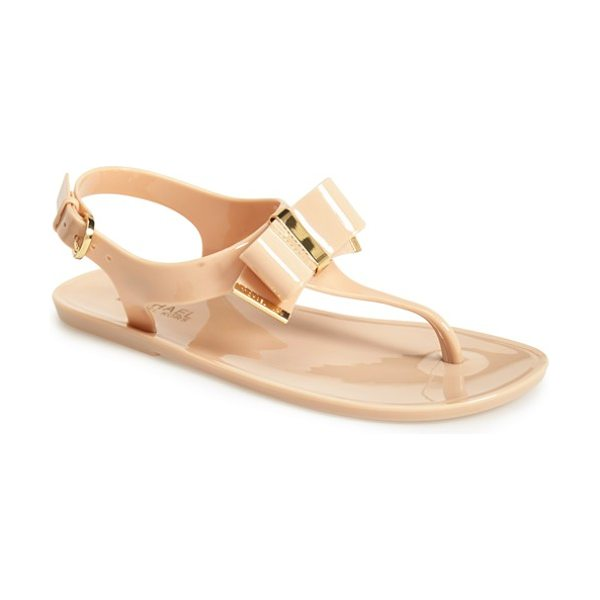 MICHAEL Michael Kors kayden sandal in nude - Etched logo hardware highlights the elegant bow of a...