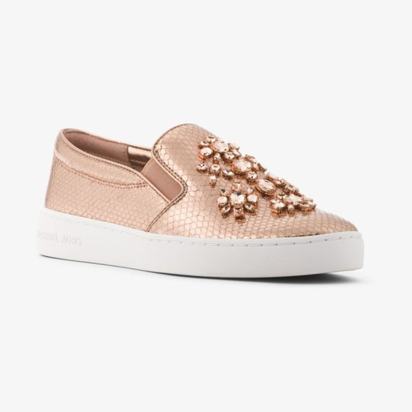 MICHAEL Michael Kors Keaton Embellished Metallic Leather Slip-On Sneaker in rose gold - Crafted From Snake-Embossed Metallic Leather And...