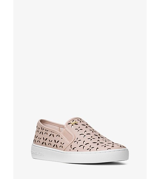 MICHAEL Michael Kors Keaton Perforated Leather Slip-On Sneaker in pink - Crafted From Perforated Leather Our Keaton Slip-On...