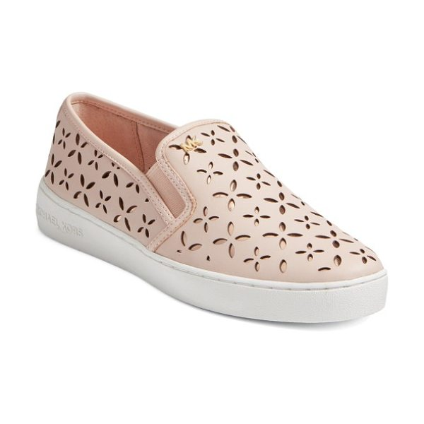 MICHAEL Michael Kors keaton slip-on sneaker in soft pink leather - Polished logo hardware provides a street-savvy upgrade...