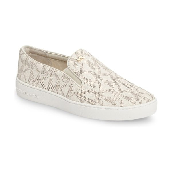 MICHAEL Michael Kors keaton slip-on sneaker in vanilla patent leather - Polished logo hardware provides a street-savvy upgrade...
