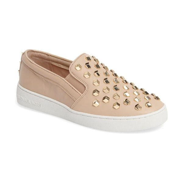 MICHAEL Michael Kors keaton slip-on sneaker in oyster nappa leather - Polished logo hardware provides a street-savvy upgrade...