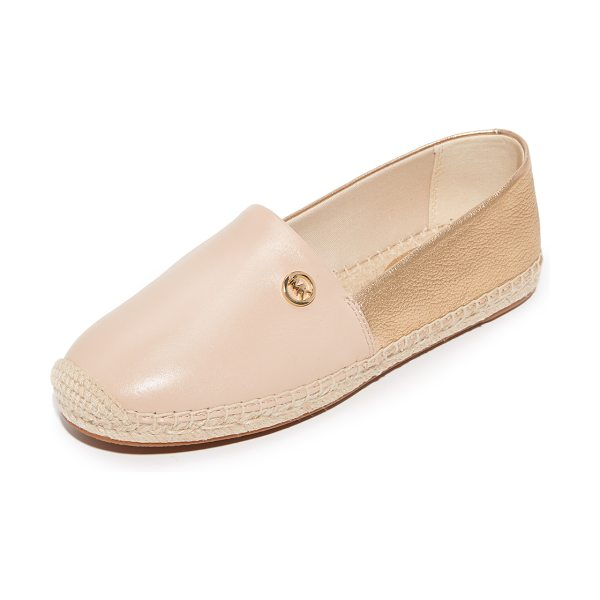 MICHAEL Michael Kors kendrick slip on espadrilles in oyster/pale gold - Two-tone leather MICHAEL Michael Kors espadrilles with a...