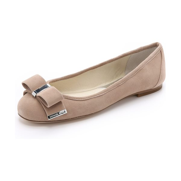 MICHAEL Michael Kors Kiera suede ballet flats in dark khaki - Polished hardware accents the soft bow on these suede...
