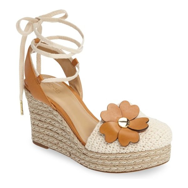 MICHAEL Michael Kors kit crochet platform wedge in natural/ acorn - A gleaming logo medallion anchors a cluster of...