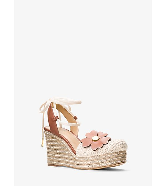 MICHAEL Michael Kors Kit Lace-Up Macrame And Leather Wedge in natural - Updated In A Textural Blend Of Macrame And Nubuck...