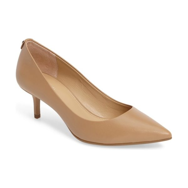 MICHAEL Michael Kors kitten heel pump in nude - A pointy-toe pump with a kitten heel features a Michael...