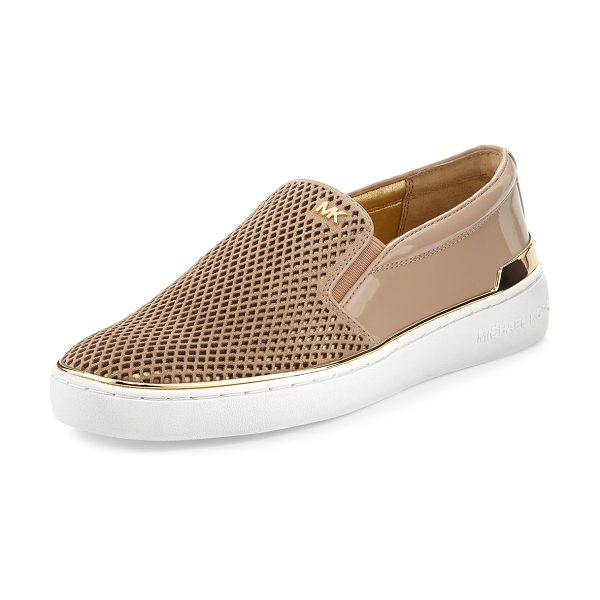 MICHAEL Michael Kors Kyle Perforated Suede Slip-On Sneaker in bisque - MICHAEL Michael Kors skate sneaker in perforated suede...