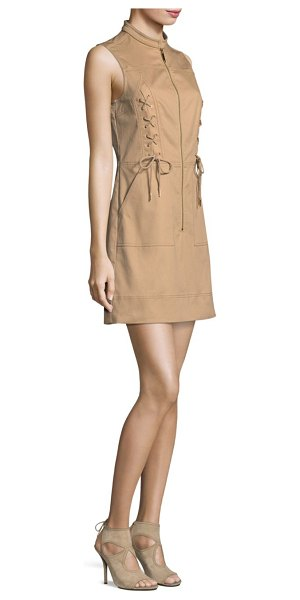 MICHAEL Michael Kors lace-up a-line dress in khaki - Cotton-blend A-line dress with lace-up detail. Stand...