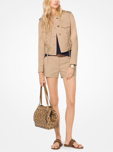 MICHAEL Michael Kors Lace-Up Cotton-Twill Jacket in natural - This Cropped Jacket Typifies The Season's Modern...