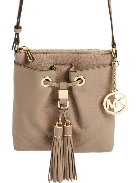 MICHAEL Michael Kors Large camden drawstring crossbody bag in dark dune/ gold - Swingy double tassels add a boho vibe to a...