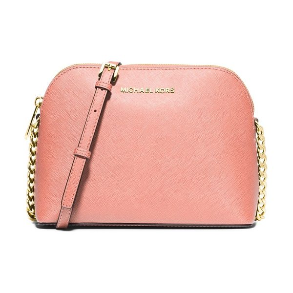 MICHAEL Michael Kors Large cindy dome crossbody bag in pale pink - Lavish Saffiano leather textures a lightly structured...