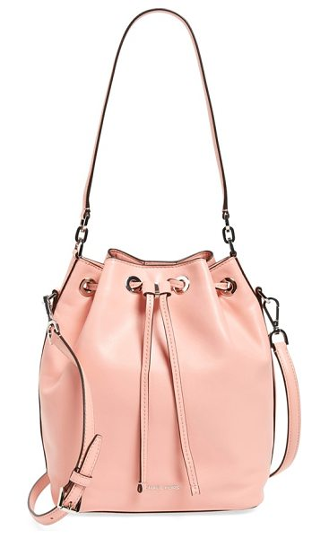 MICHAEL Michael Kors Large dottie leather bucket bag in pale pink/ silver - A relaxed and effortlessly versatile bucket bag cinched...