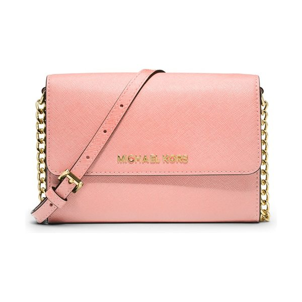 MICHAEL Michael Kors Jet set in pale pink - Raised logo letters grace the scratch-resistant Saffiano...