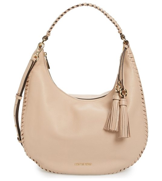 MICHAEL MICHAEL KORS large lauryn leather hobo in oyster - Chunky whipstitching and a pair of lush, ring-anchored...