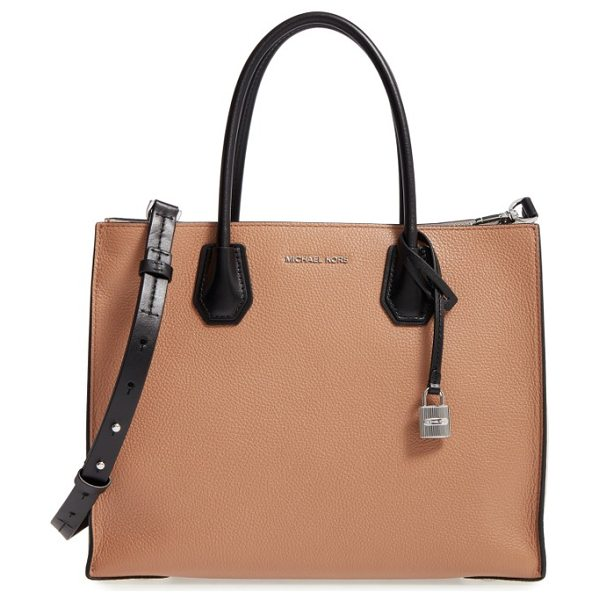 MICHAEL Michael Kors large mercer colorblock leather tote in cashew/ ecru/ black - An optional, adjustable strap and rolled top handles...