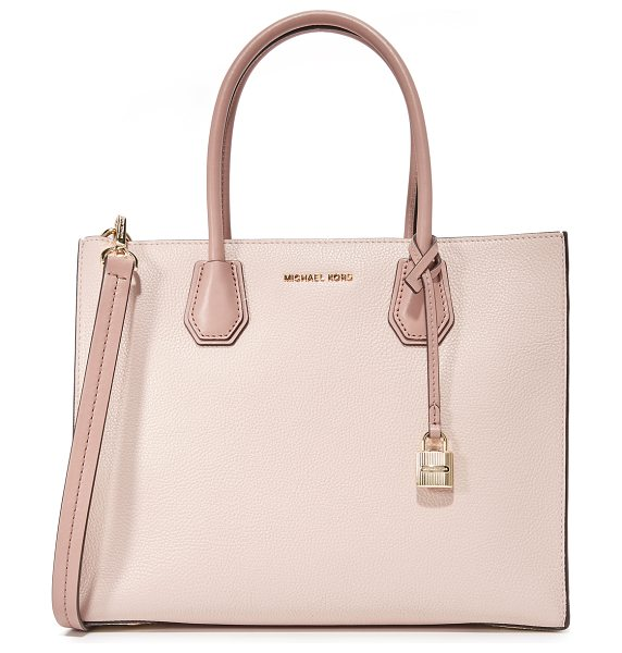 MICHAEL Michael Kors large mercer convertible tote in soft pink/ecru/fawn - A structured, pebbled-leather MICHAEL Michael Kors tote...