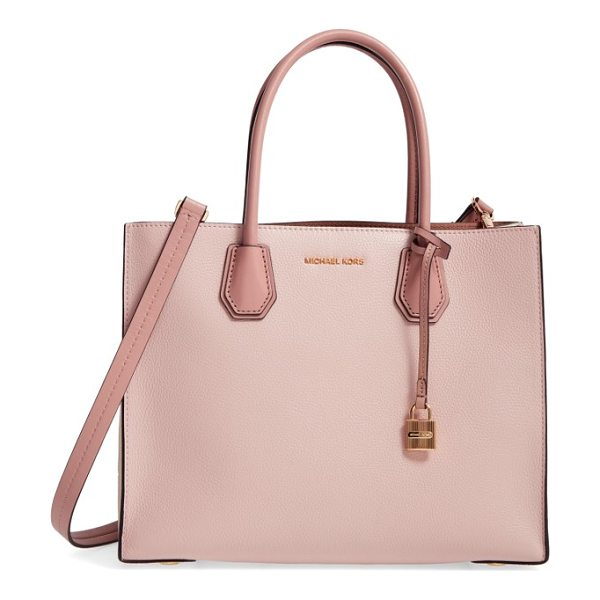 MICHAEL Michael Kors large mercer convertible tote in soft pink/ ecru/ fawn - An optional, adjustable strap adds versatility to a...