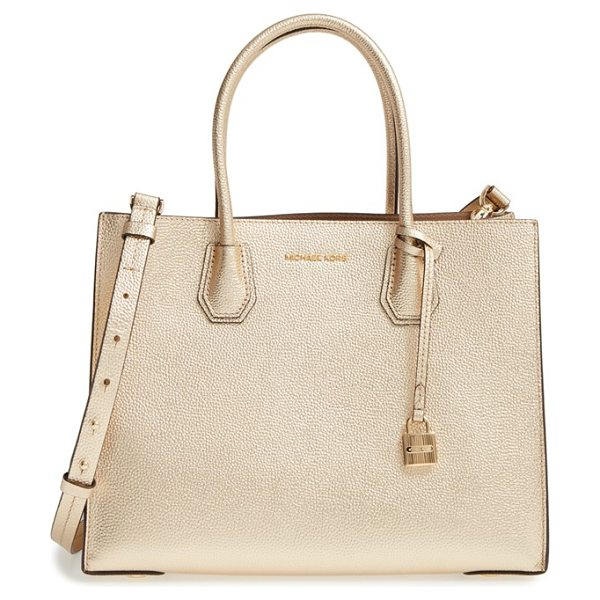 MICHAEL Michael Kors large mercer metallic leather tote in pale gold/ gunmetal - Shine this season with a pale-gold, pebbled-leather tote...