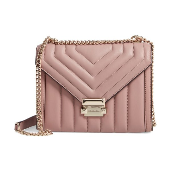 MICHAEL Michael Kors large quilted leather shoulder bag in pink - Punctuate your look with the vintage sophistication of a...