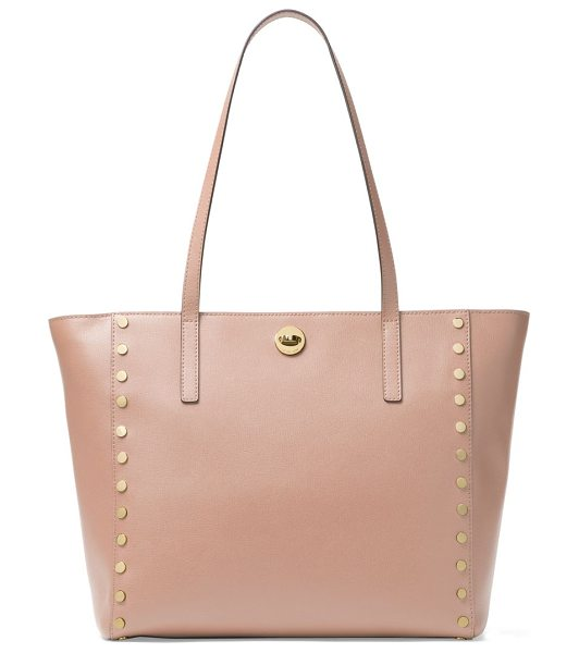 MICHAEL Michael Kors large rivington studded leather tote in fawn - Leather trapeze tote framed with polished disc studs....