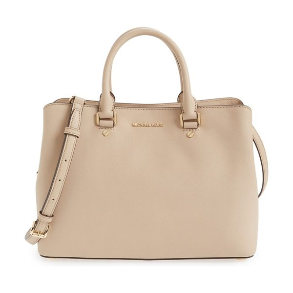 MICHAEL Michael Kors Large savannah leather satchel in bisque/ gold - Touches of gleaming goldtone logo hardware perfectly...