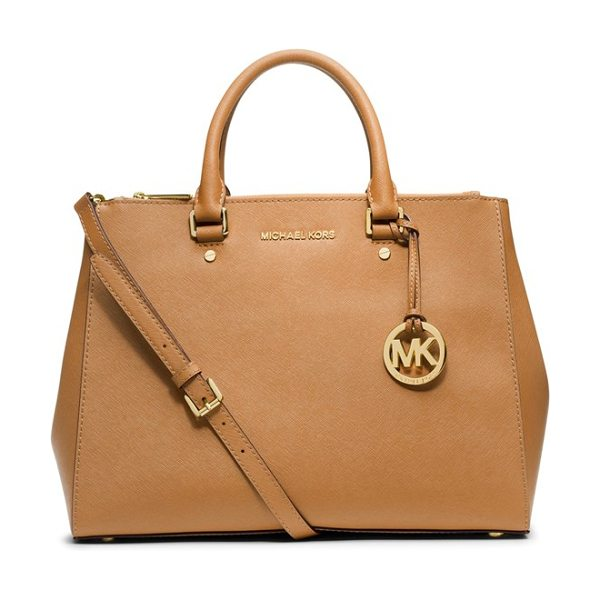 MICHAEL Michael Kors Large sutton satchel in peanut - High-shine logo letters finish a sophisticated, lightly...