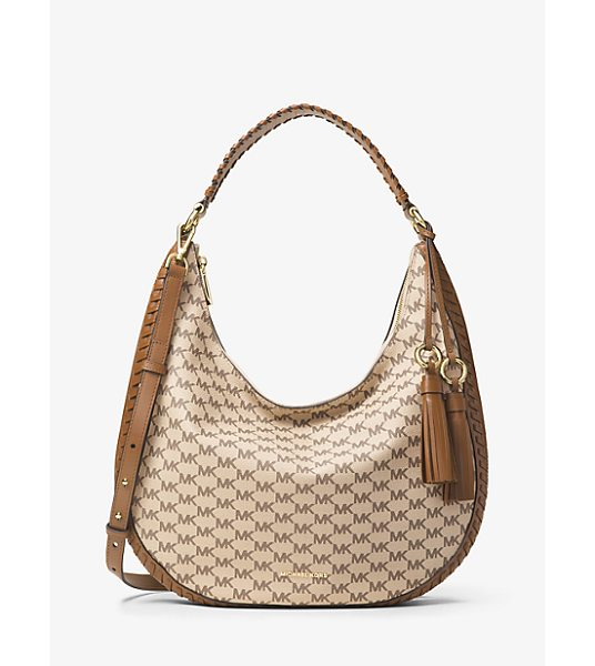 MICHAEL MICHAEL KORS Lauryn Large Logo Shoulder Bag in brown - Whipstitch Leather Trim Lends Artisanal Appeal To The...