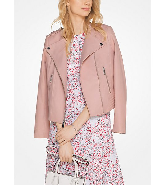 MICHAEL Michael Kors Leather Moto Jacket in pink - A Lightweight Leather Jacket To Love Forever This Moto...