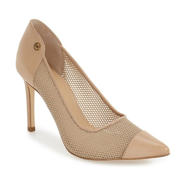MICHAEL Michael Kors leilah pump in nude leather - A woven upper trimmed with smooth leather furthers the...