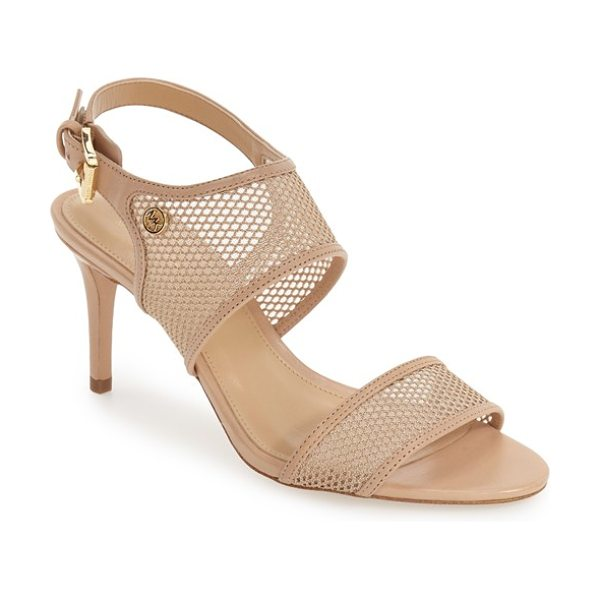 MICHAEL Michael Kors leilah slingback mesh sandal in nude leather - Semi-opaque mesh panels adorn the toe strap and instep...