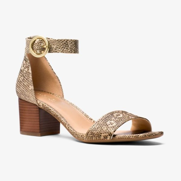 MICHAEL Michael Kors Lena Lizard-Embossed Leather Sandal in natural - Our Lena Leather Sandals Are Designed In A Minimalist...