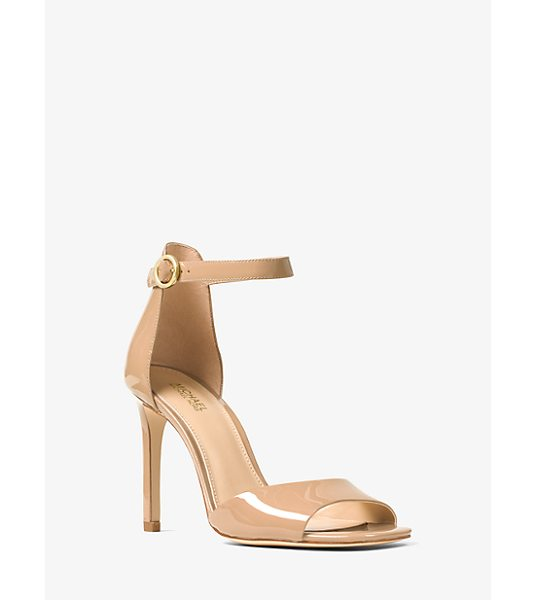 MICHAEL Michael Kors Lena Patent-Leather Sandal in brown - Elevate Your Workweek And Evening Ensembles With Our...