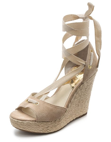 MICHAEL Michael Kors Lilah suede wedges in bone - Braided raffia trim wraps around the wedge and platform...