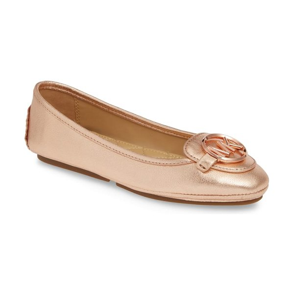 MICHAEL Michael Kors lillie logo ballet flat in pink - A logo medallion takes center stage on a ballet flat...