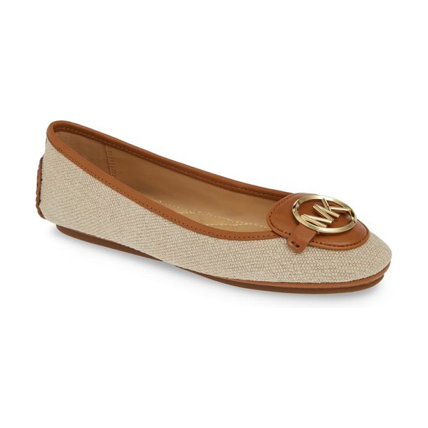 MICHAEL Michael Kors lillie logo ballet flat in beige - A logo medallion takes center stage on a ballet flat...