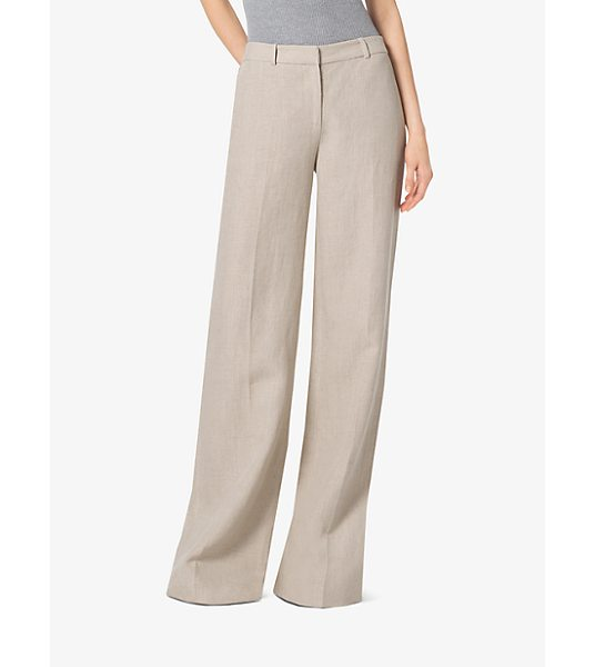 MICHAEL Michael Kors Linen Wide-Leg Trousers in natural - Pressed Creases Complement The Low-Slung Slouchy Shape...