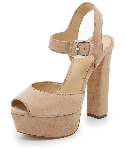 MICHAEL MICHAEL KORS London platform sandals in dk khaki - Suede, peep toe MICHAEL Michael Kors sandals in a...