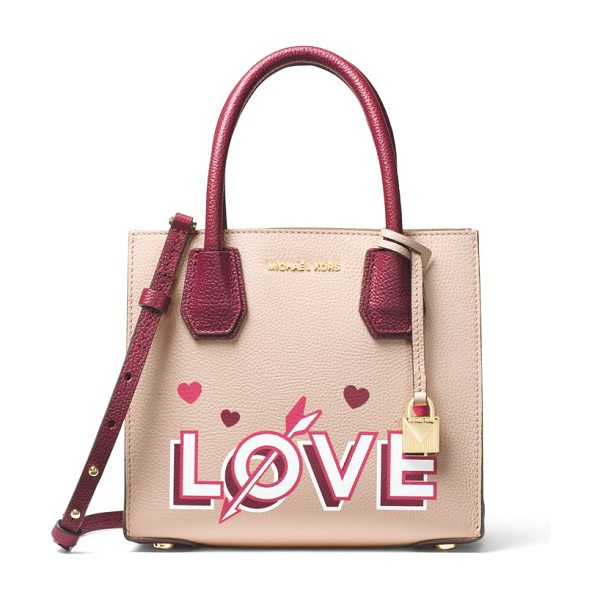 MICHAEL Michael Kors love medium messenger leather satchel in soft pink - Leather messenger satchel with charming print. Double...