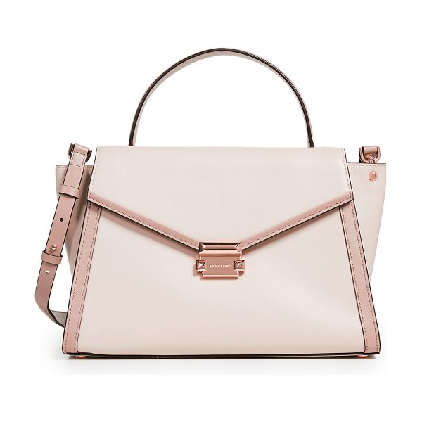 MICHAEL Michael Kors whitney medium satchel in soft pink/fawn - Leather: Cowhide Contrast trim Pyramid stud hardware...