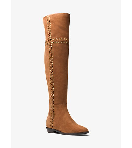 MICHAEL Michael Kors Malin Grommet Suede Boot in brown - Featuring Gilded Grommets With Openwork Threading This...
