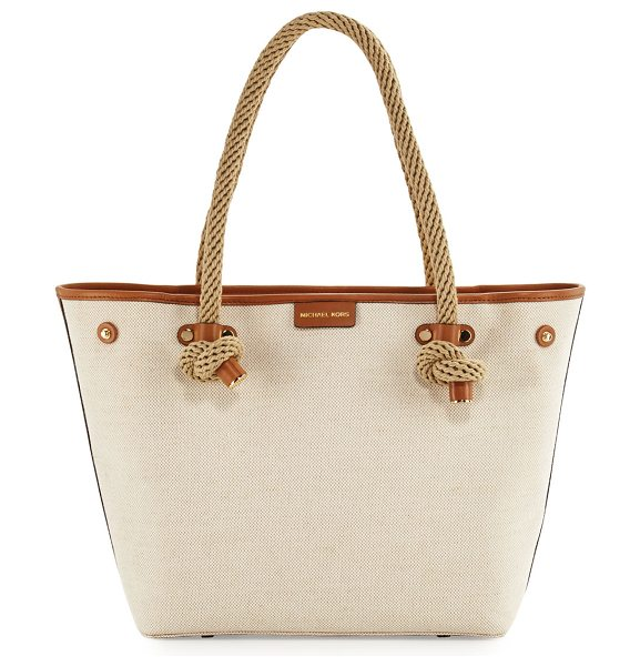 MICHAEL Michael Kors Maritime Medium Canvas Beach Tote Bag in natural - MICHAEL Michael Kors canvas tote bag with leather trim....
