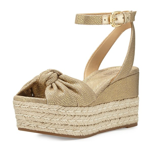 MICHAEL Michael Kors Maxwell Mid-Wedge Sandal in gold - MICHAEL Michael Kors metallic canvas sandal with leather...