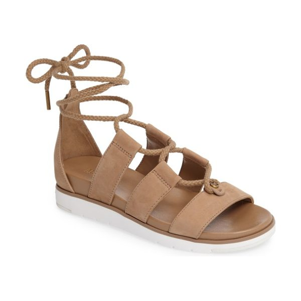 MICHAEL Michael Kors mckenna ghillie wedge sandal in dark khaki nubuck leather - Braided ghillie lacing bridges the leather straps of a...