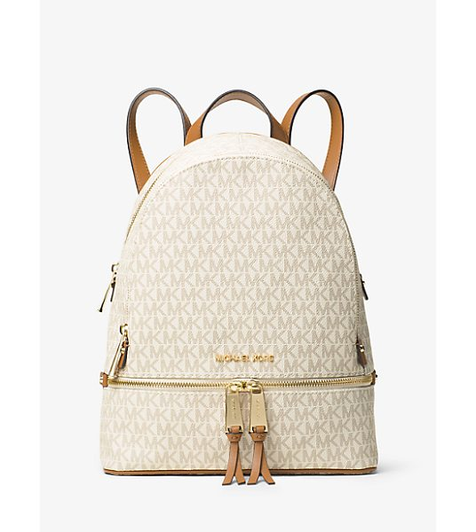 MICHAEL Michael Kors Rhea Medium Logo Backpack in natural