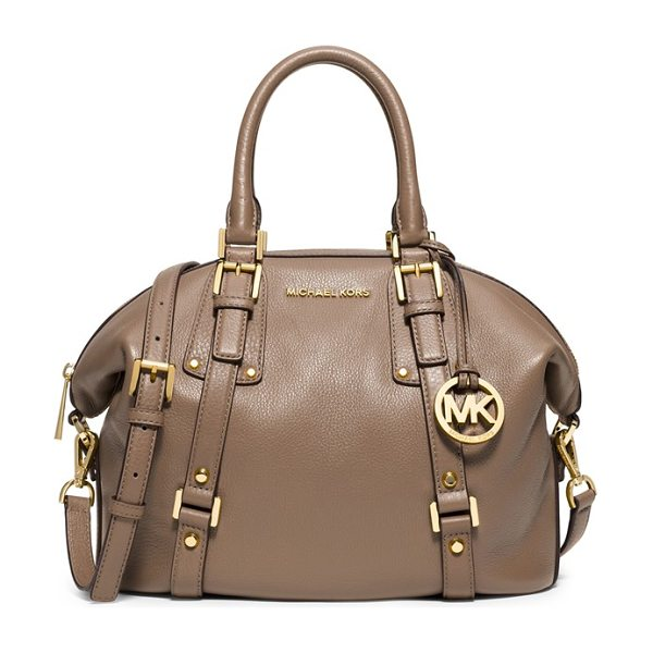 MICHAEL Michael Kors Medium bedford satchel in dark dune - A spacious, vintage-inspired satchel takes a...