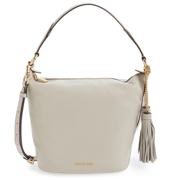 MICHAEL Michael Kors Medium elana convertible leather shoulder bag in cement/ gold - An easy over-the shoulder bag with swishy chain-anchored...