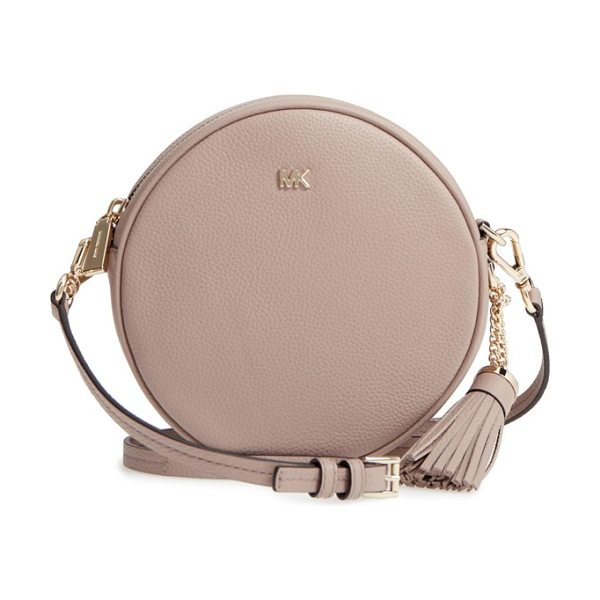 MICHAEL Michael Kors medium leather canteen bag in brown - Gleaming hardware plays up the pebbled-leather exterior...