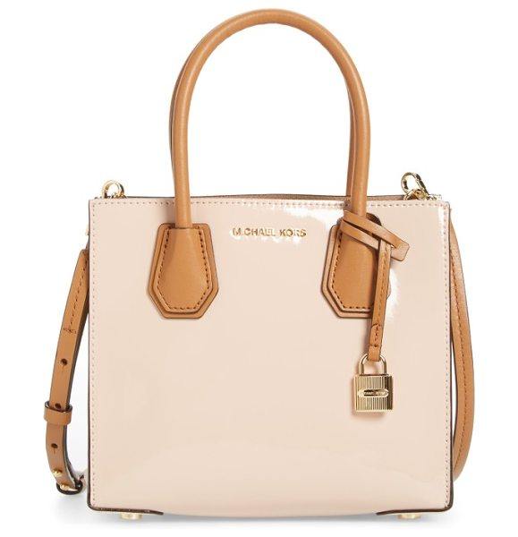 MICHAEL Michael Kors medium mercer leather messenger tote in ballet - This delicately color-blocked messenger tote is made...