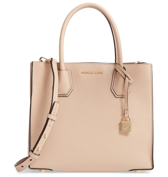 MICHAEL Michael Kors 'medium mercer' leather tote in oyster - A center zip divider pocket adds convenience to the...